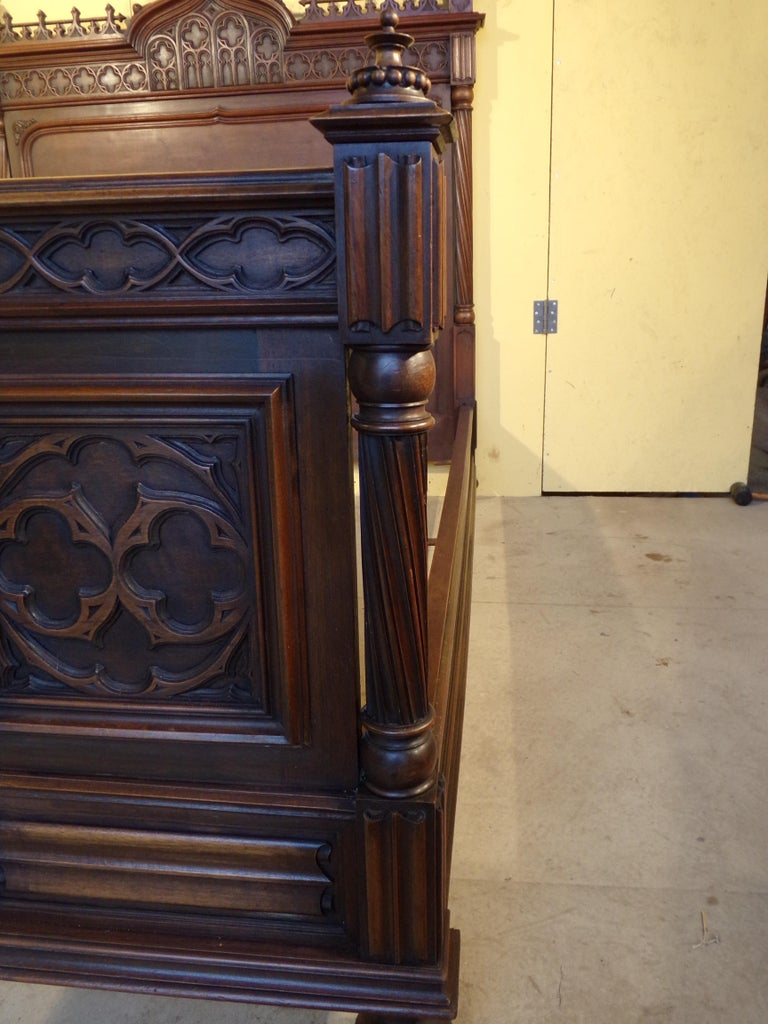 French Gothic Revival Carved Double Bed, circa 1890 For Sale