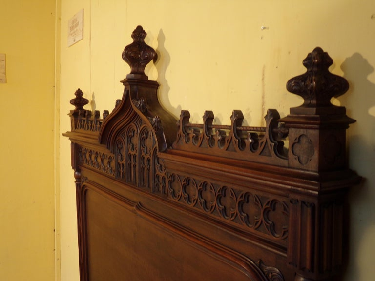 Late 19th Century Gothic Revival Carved Double Bed, circa 1890 For Sale