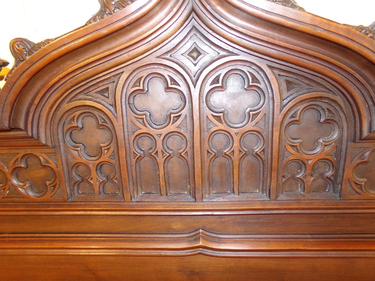 Walnut Gothic Revival Carved Double Bed, circa 1890 For Sale