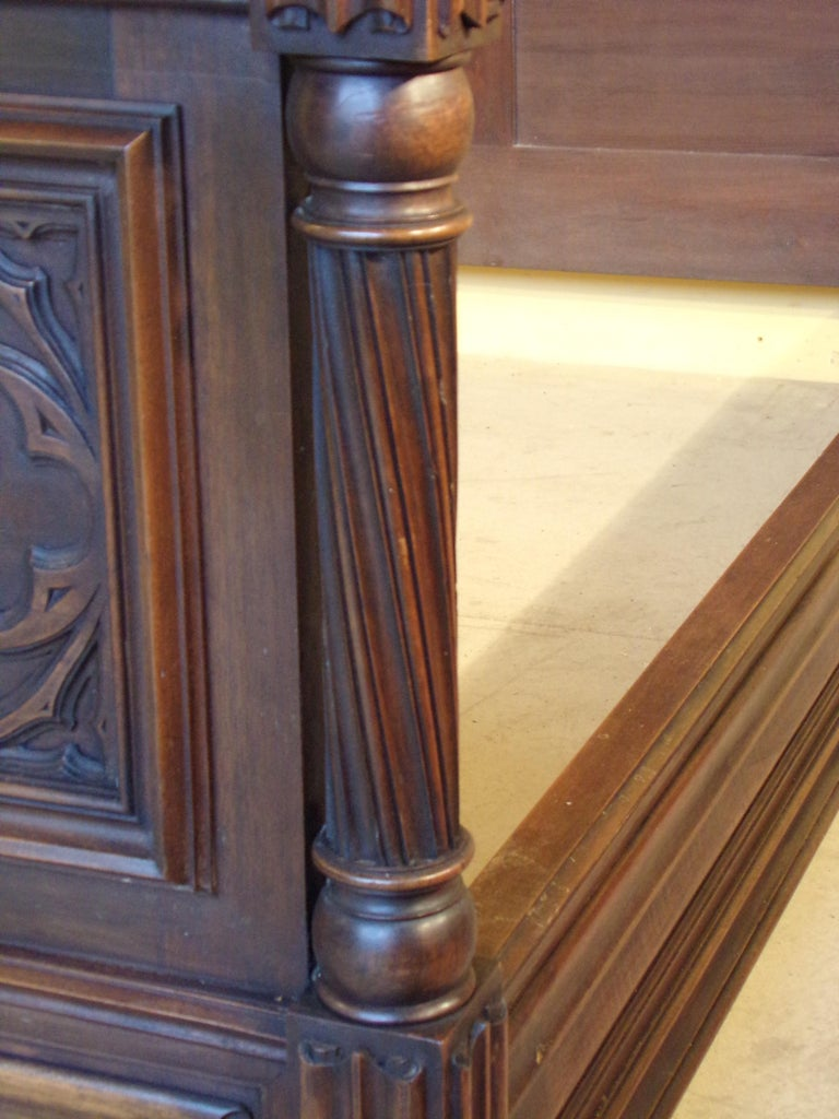 Gothic Revival Carved Double Bed, circa 1890 For Sale 2