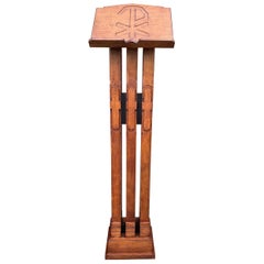 Gothic Revival Carved Oak Lectern/ Bible & Religious Book Stand with Christogram