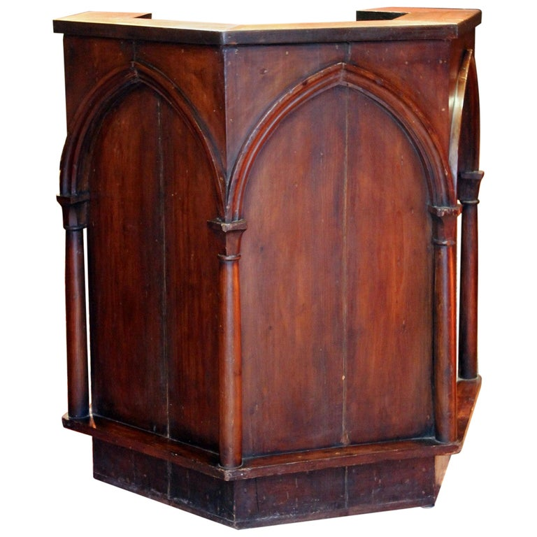 Gothic Revival Carved Walnut Wood Pulpit or Bar Counter Arches and Columns Shape For Sale