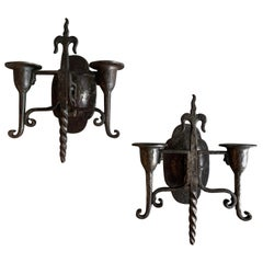Gothic Revival Cast Iron Candle Wall Sconces