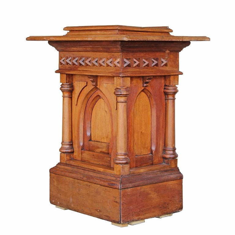 Oak Gothic Revival Church Podium For Sale