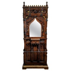 Gothic Revival Coat Rack Hall Tree Umbrella Stand Hand Carved Mirror