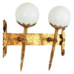 Gothic Revival Double Torch Wall Sconce in Wrought Iron and Milk Glass