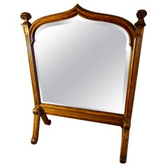Gothic Revival English Oak Bevel Shield Shape Stand Mirror with Finials
