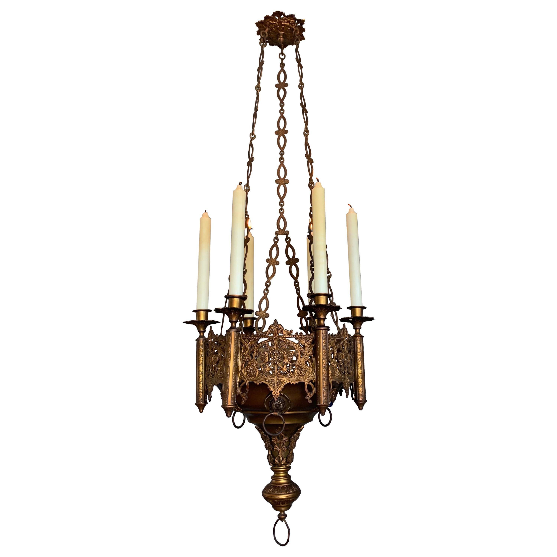 Gothic Revival Fine Bronze & Brass Church Chandelier / Six Candle Lamp / Pendant
