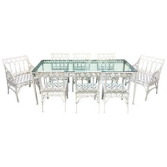 Gothic Revival Garden Dining Set of 8 Chairs and Table
