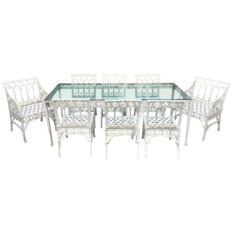 Gothic Revival Garden Dining Set Of 8 Chairs And Table For