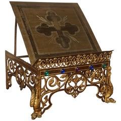 Gothic Revival Gilt Bronze Church Altar Bible Stand w. Dragon-Like Gargoyle Feet