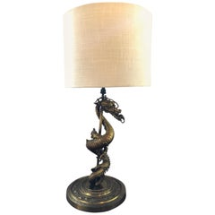 Gothic-Revival Gilt Gold Bronze Dragon Lamp
