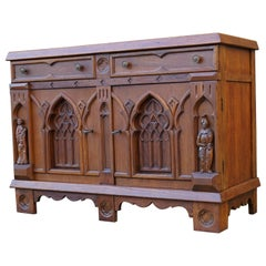 Gothic Revival Hand Carved Small Oak Credenza with Church Window Like Panels