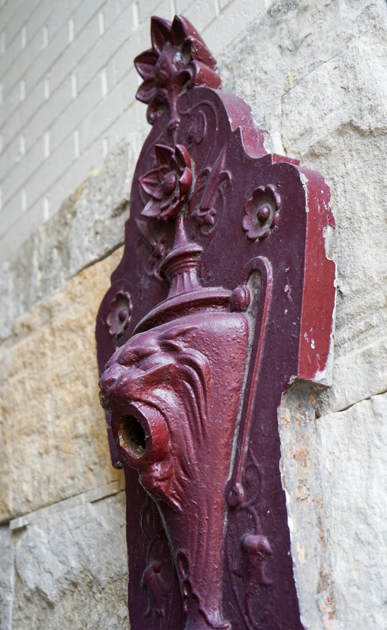 Mid-19th Century Gothic Revival Iron Wall Fountain For Sale
