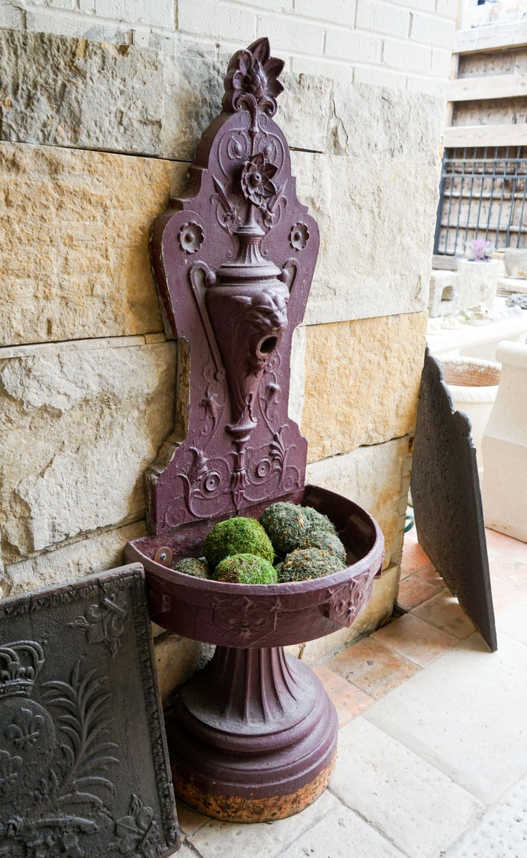 Gothic Revival Iron Wall Fountain For Sale 1