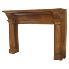 Gothic Revival Mantel Featuring Round Columns w/ Hand Carved Wood Details