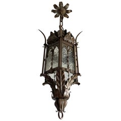 Gothic Revival Medieval Style, Good Size Wrought Iron & Cathedral Glass Lantern