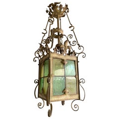 Gothic Revival Medieval Style, Large Size Wrought Iron & Cathedral Glass Lantern