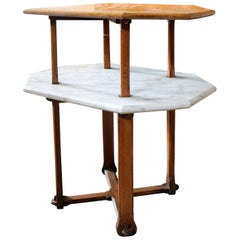 Gothic Revival Oak and Marble Two-Tier Centre Table