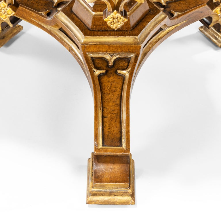 19th Century Gothic Revival Oak Centre Table made for Windsor Castle designed by A.W.N. Pugin For Sale