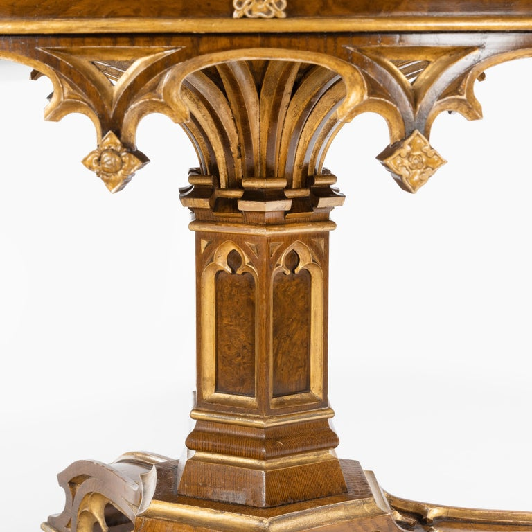 Wood Gothic Revival Oak Centre Table made for Windsor Castle designed by A.W.N. Pugin For Sale