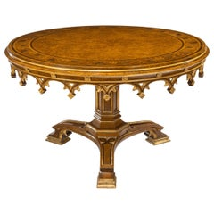 Gothic Revival Oak Centre Table made for Windsor Castle designed by A.W.N. Pugin