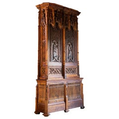 Gothic Revival Oak Cupboard Heavily Carved, circa 1850