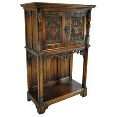 Gothic Revival Oak Medieval Knight Cabinet Server Chest