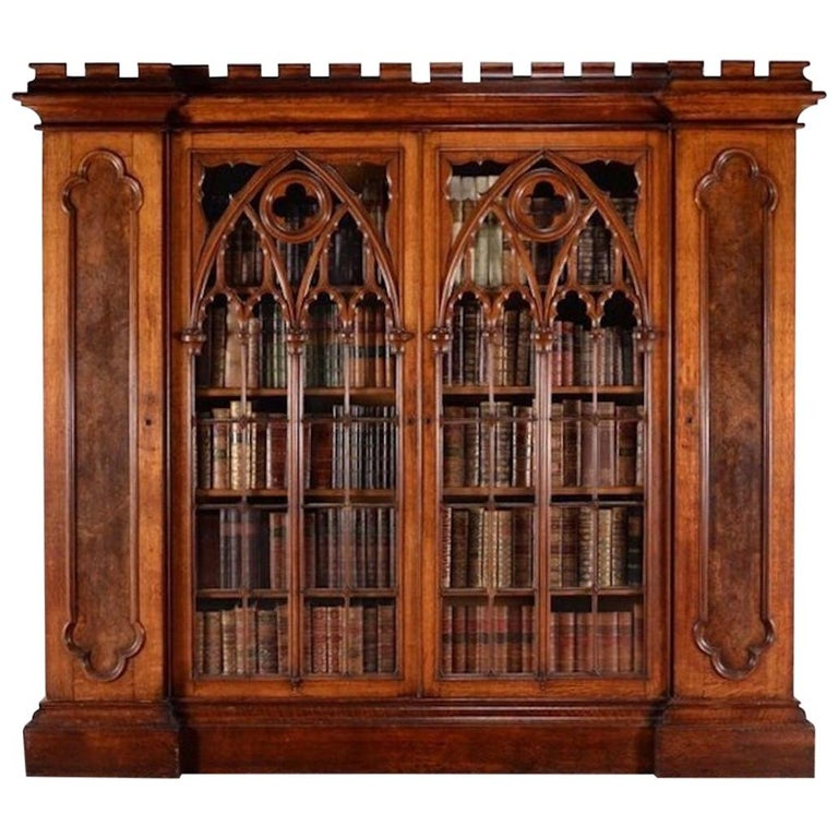 Exceptional and Exquisite Gothic Revival Pugin Pollard Oak Cabinet Bookcase For Sale