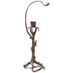 Gothic Revival Sculptural Snake Table Candelabra or Candle Holder, 1910s