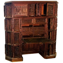 Gothic Revival Secretary Desk, Walnut, France