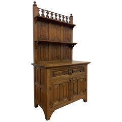 Gothic Revival Sideboard Cabinet with Shelf's and Hand Carved Saying on Drawer