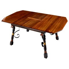 Gothic Revival Style Brass Accent Solid Mahogany Butterfly Leaf Dining Table