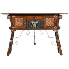 Gothic Revival Style Dragon Motif Brass and Leather Accent Mahogany Oak Credenza
