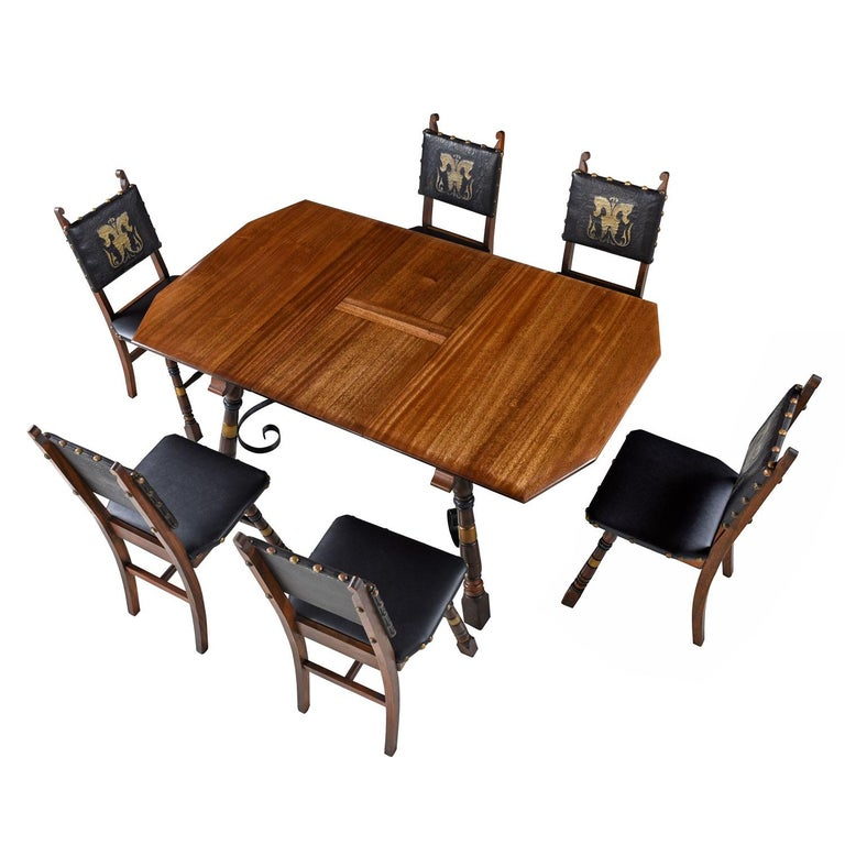 Medieval Gothic Revival Style Dragon Motif Brass and Leather Mahogany Oak Dining Set For Sale