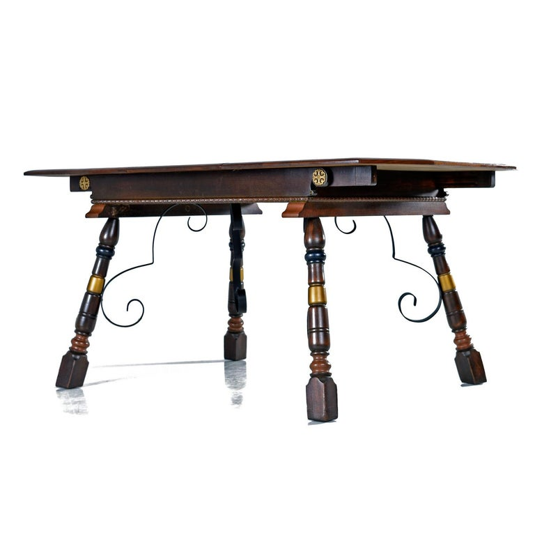 Late 20th Century Gothic Revival Style Dragon Motif Brass and Leather Mahogany Oak Dining Set For Sale