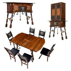 Gothic Revival Style Dragon Motif Brass and Leather Mahogany Oak Dining Set