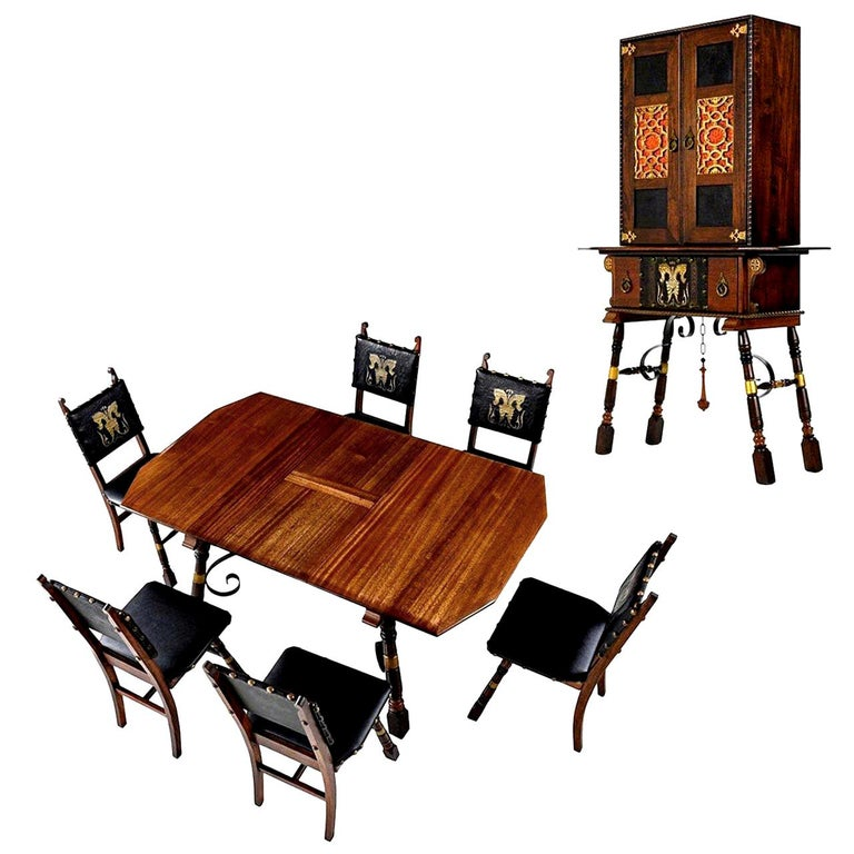 Gothic Revival Style Dragon Motif Brass and Leather Mahogany Oak Dining Set For Sale