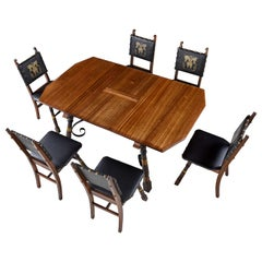 Gothic Revival Style Dragon Motif Brass and Leather Mahogany Oak Table & Chairs