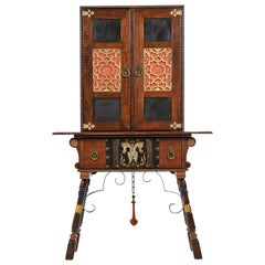 Gothic Revival Style Dragon Motif Brass & Leather Accent Mahogany Hutch Cabinet
