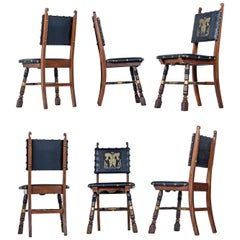 Gothic Revival Style Dragon Motif Leather Mahogany Oak Dining Chairs
