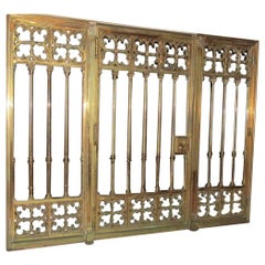 Gothic Revival Three-Piece Heavy Cast Bronze Bank Entry Gate Storefront