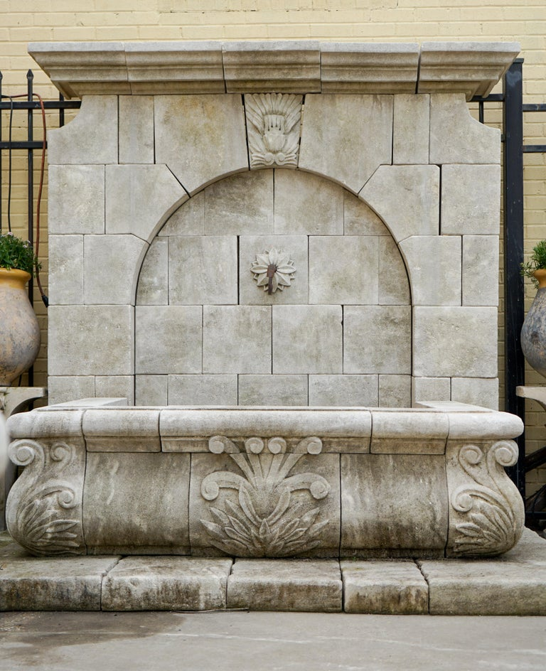 Hand-Carved Gothic Revival Wall Fountain For Sale