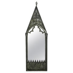Gothic Revival Wall Mirror Pewter, c1920