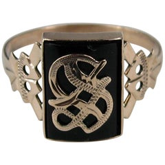 """Gothic """"S"""" Onyx Gold Initial Ring Victorian"""