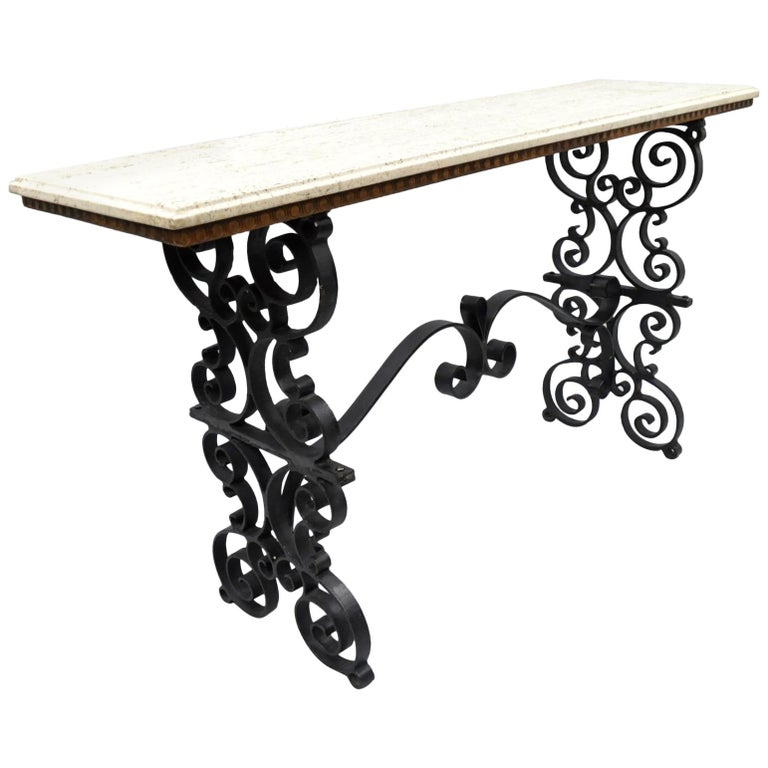 Gothic Scrolling Wrought Iron Console Hall Pastry Sofa Table