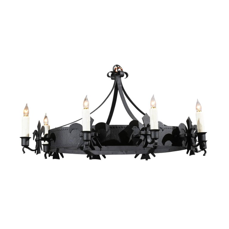 Gothic Style French Oval Wrought-Iron Eight-Light Chandelier with Fleurs-de-Lys