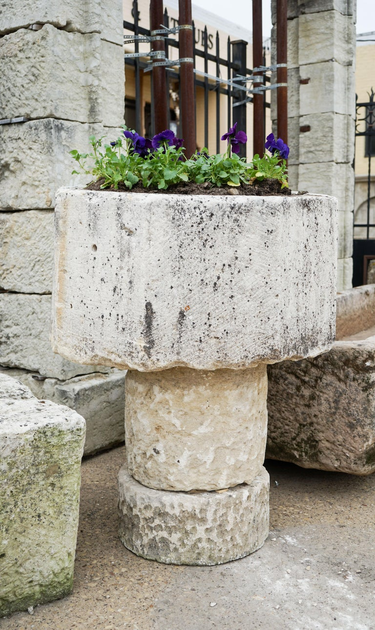 French Gothic Style Limestone Baptismal Font with Base For Sale