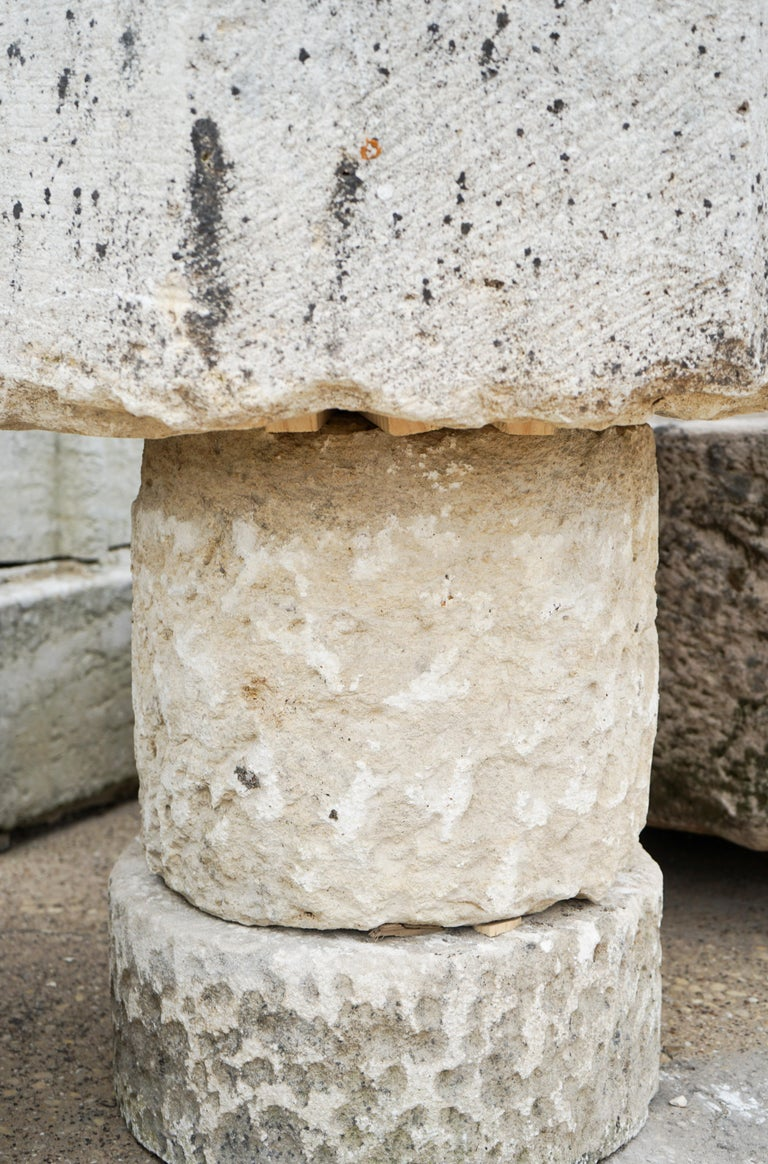 Gothic Style Limestone Baptismal Font with Base In Good Condition For Sale In Dallas, TX