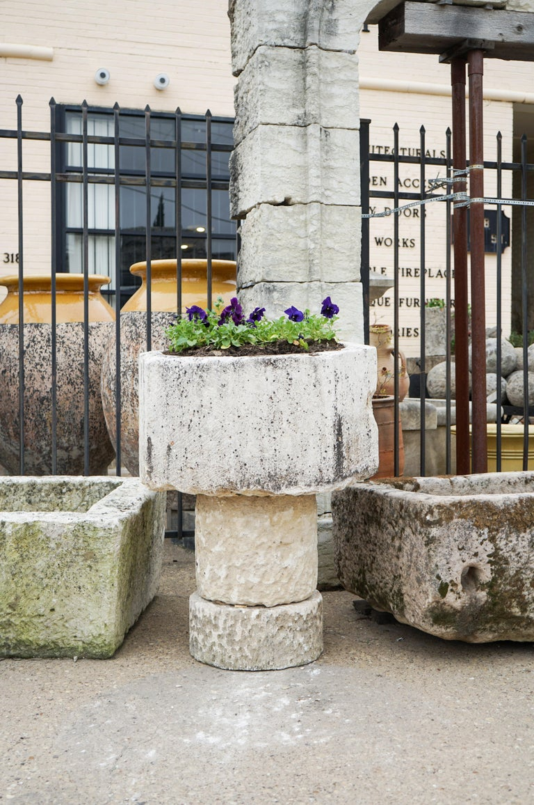 18th Century and Earlier Gothic Style Limestone Baptismal Font with Base For Sale